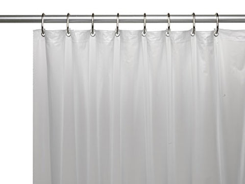 Park Avenue Deluxe Collection Shower Stall-Sized (54'' x 78'') Mildew-Resistant 10 Gauge Vinyl Shower Curtain Liner w/ Metal Grommets and Reinforced Mesh Header in Frosty Clear