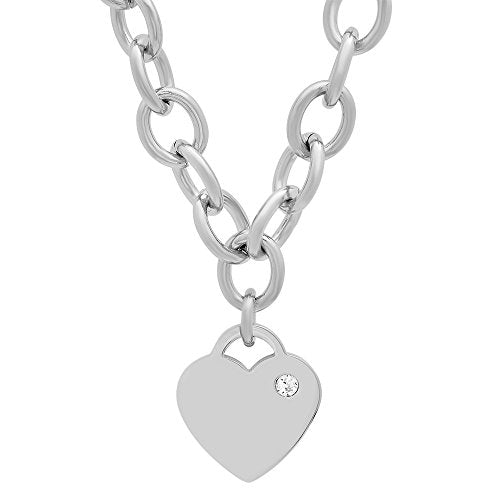 Lady's Stainless Steel Rolo Necklace with Swarovski Elements Heart Charm
