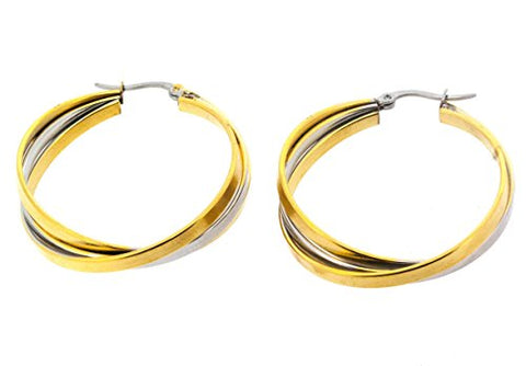 Ben and Jonah Stainless Steel and Gold Plated 2-Tone 3 Band Interlaced Hoop Earring (35mm)