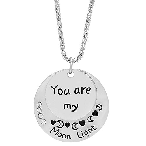 Lady's 18K White Gold Plated Alloy Swarovski Elements 'You Are My Moonlight' Pendant