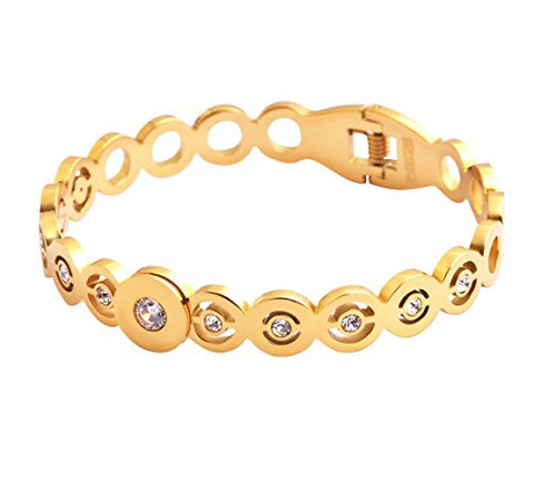 Ben and Jonah Stainless Steel Ladies Multi-Stone Gold Plated Spring Bracelet