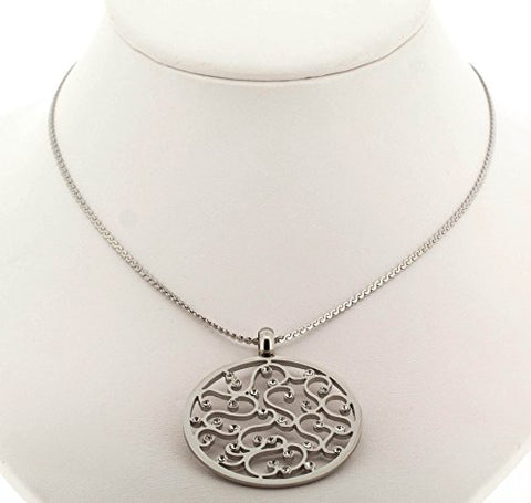 Ben and Jonah Stainless Steel Flower Design Round Pendant with Stones on Fancy 18 inch  Necklace