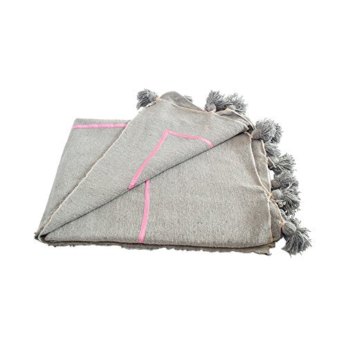 Ben and Jonah Geometric Moroccan Pom Pom Blanket (Pink on Grey)