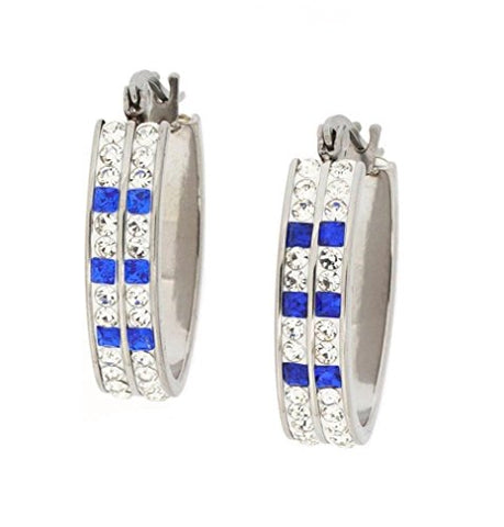 Ben and Jonah Stainless Steel Fancy Hoop Earring with Complete Clear Stone Coverage with 6 Blue Stones