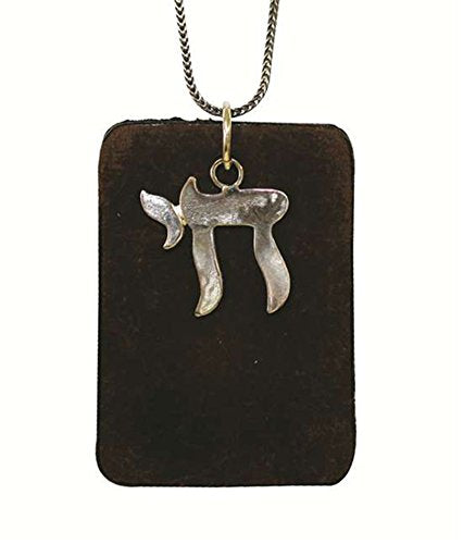 Silver Chai On A Leather Pendant - Chain 21 inch  Leather 1 1/4 inch  W X 2 inch  H Pendant 6/8 inch  X 6/8 inch