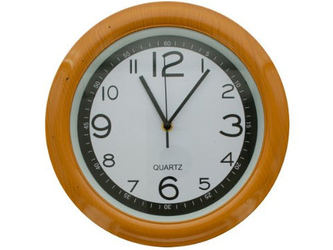 Regalo Perfecto Collection Round Simulated Wood Wall Clock