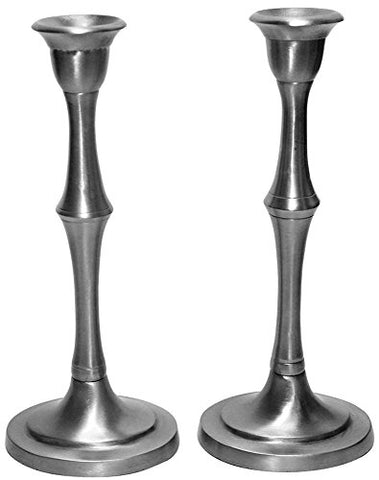 5th Avenue Collection Candle Sticks Hammered Nickel W/Velvet Box 10 inch H