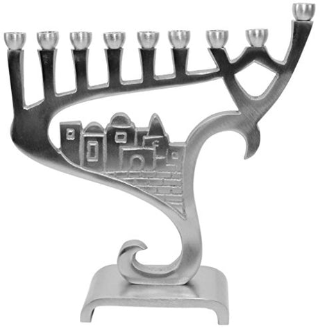 Lamp Lighters Ultimate Judaica Menorah Pewter - 8.5 inch H