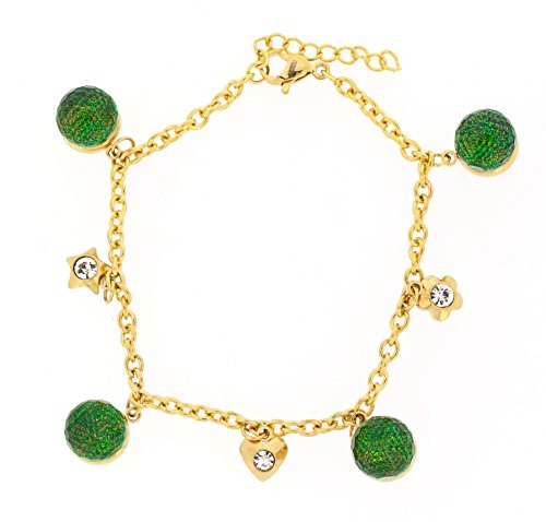 Ben and Jonah Stainless Steel Gold Plated Bracelet with Green Balls and Charms with Extension