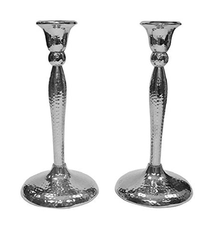 Ultimate Judaica Candlestick Nickel Hammered 9 inch H