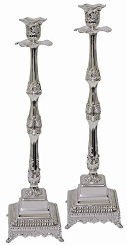 5th Avenue Collection Silver Plated Candle Sticks - 18 inch  H