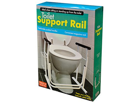 Regalo Perfecto Collection Toilet Support Rail with Magazine Rack