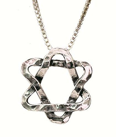 Silver Star Of David Squiggle Necklace - Chain 16 inch  Pendant 1/2 inch  X 1/2 inch