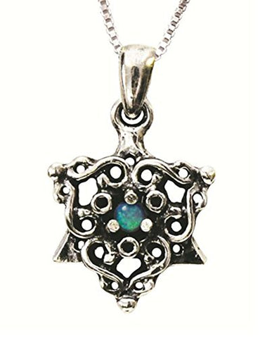 Silver Star of David Necklace With Opal - Chain 16 inch  Pendant 1/2 inch  X 1/2 inch