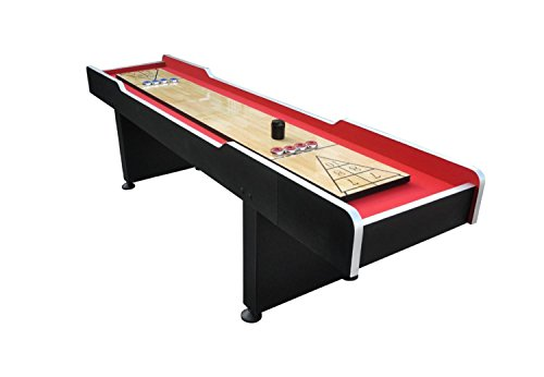 By PoolCentral 9' x 2' Recreational Red and Black Shuffleboard Game Table