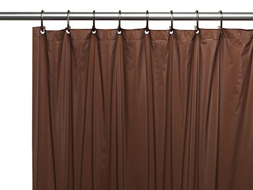 Royal Bath Heavy 3 Gauge Vinyl Shower Curtain Liner with Weighted Magnets and Metal Grommets (72 inch  x 72 inch ) - Brown