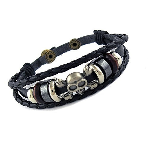 Ben & Jonah Brown Leather and Stainless Steel Multi Layer Bracelet with Skull (7.5 inch -8.5 inch  Adjustable Length)