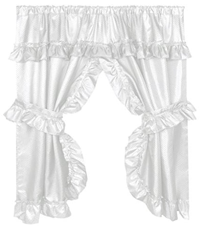 Park Avenue Deluxe Collection Park Avenue Deluxe Collection  inch Lauren inch  Window Curtain with Ruffled Valance White
