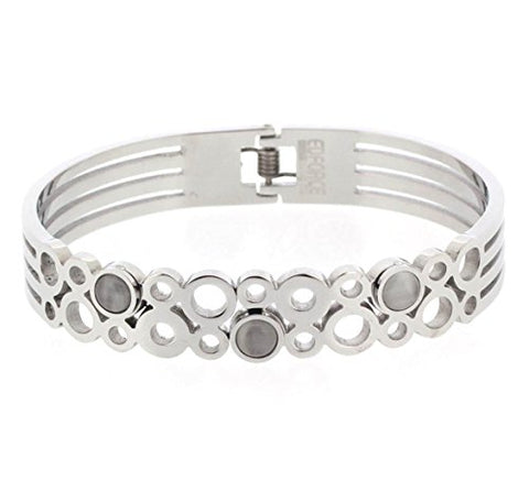 Ben and Jonah Stainless Steel Lady's Circles and Stones Bracelet with a Hinge