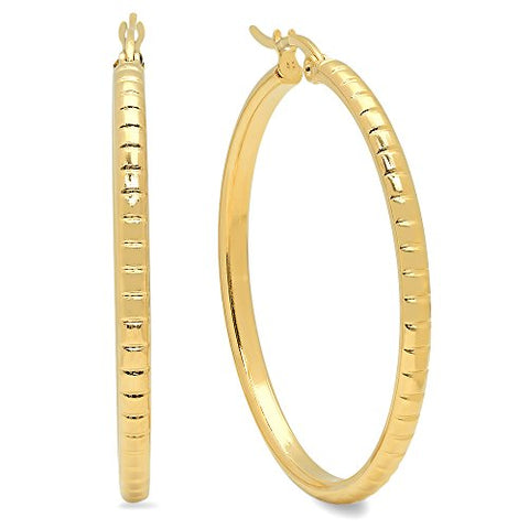Ben and Jonah Ladies 18k Gold Plated Stainless Steel Accented Hoop Earrings