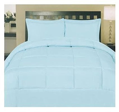 ComfortLiving Down Alternative 8 Piece Embossed Comforter Set - Light Blue (King)