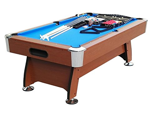 By PoolCentral 8' x 4.25' Brown and Blue Deluxe Billiard Pool and Snooker Game Table