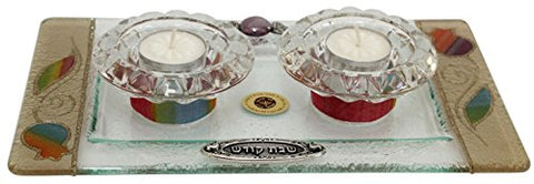 5th Avenue Collection Candle Stick With Tea Light Applique -  Rainbow -  Tray 11  inch  W X 6  inch  L Candle Sticks 2  inch  H