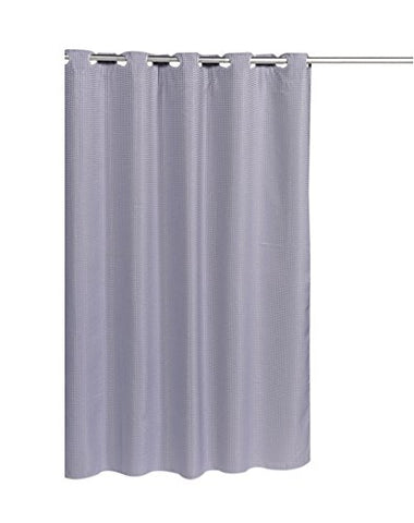Park Avenue Deluxe Collection Park Avenue Deluxe Collection Pre Hooked? Waffle Weave Fabric Shower Curtain in Pewter