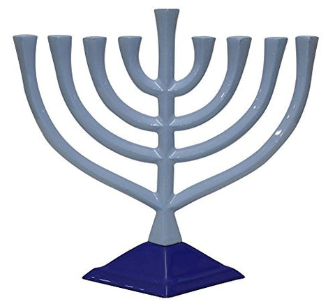 Lamp Lighters Ultimate Judaica Menorah Pewter - Blue - 9.5 inch H