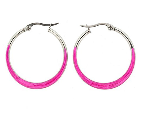 Ben and Jonah Stainless Steel Flat Crescendo (Wider on the Bottom) Hoop Earring with Magenta Oil Paint