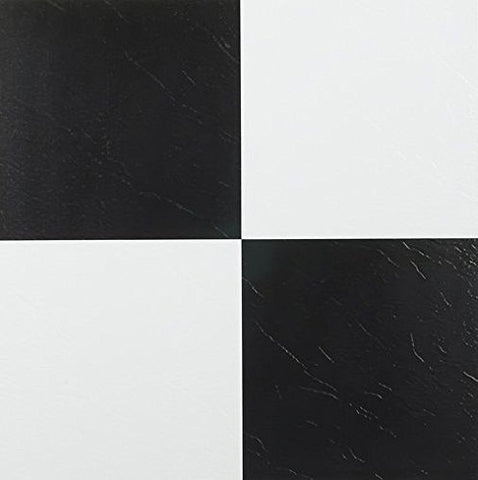 Park Avenue Collection Tivoli Black & White 12 Inch x 12 Inch Self Adhesive Vinyl Floor Tile #103 - 45 Tiles