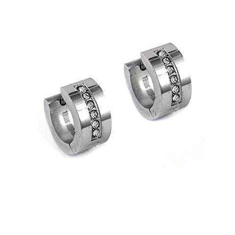 Ben and Jonah Stainless Steel Huggie Earring with Rows of Six Clear Stones