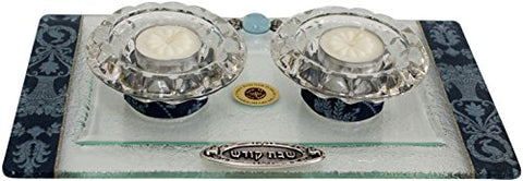 Ultimate Judaica Candle Stick With Tea Light Applique - Blue - Tray 11 inch  W X 6 inch  L Candlesticks 2 inch  H