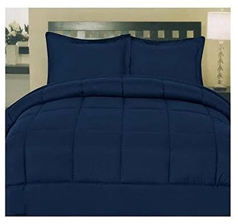 Cozy Home Down Alternative 5 Piece Embossed Comforter Set - Navy (King)