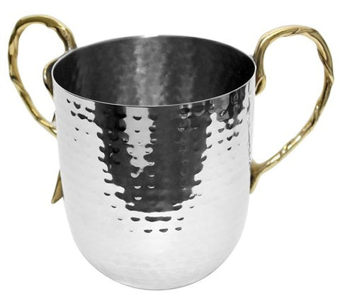 Ultimate Judaica Holister Washing Cup Hammered Stainless Steel With Gold Handles - 5 inch  X 4.5 inch