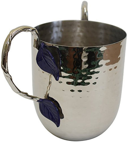 Ultimate Judaica Holister Washing Cup Hammered Stainless Steel With Silver Handles & Bue Leaf - 5 inch  X 4.5 inch