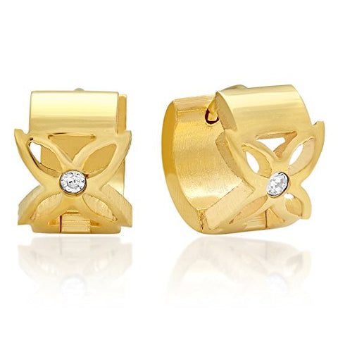 Swarovski Elements Lady's 18K Gold Plated Stainless Steel Huggie Earrings with Flower Accent