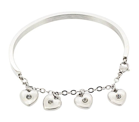 Ben and Jonah Stainless Steel Arch with Chain Bracelet and 4 Heart Charms with Stones