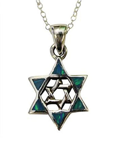 Silver Opal Star Of David Necklace - Chain 18 inch  Pendant 1/2 inch  W 1 inch  H