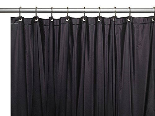 Royal Bath Heavy 3 Gauge Vinyl Shower Curtain Liner with Weighted Magnets and Metal Grommets (72 inch  x 72 inch ) - Black