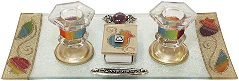 Ultimate Judaica Candle Stick With Tray And Matchbox Small Applique - Rainbow With Pomegranate - Tray 10 3/4 inch W X 6 inch H Candle Sticks - 2.5 inch H
