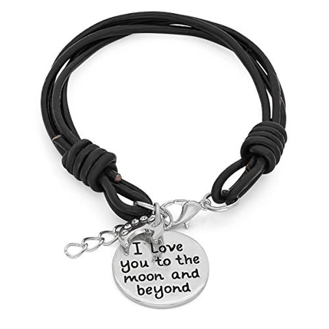 Lady's Genuine Black Leather Bracelet with Metallic Alloy 'I Love You To The Moon and Beyond' and Swarovski Elements Moon Charms