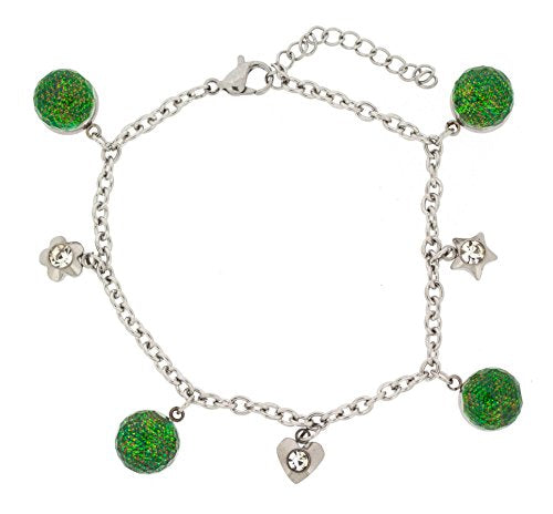 Ben and Jonah Stainless Steel Bracelet with Green Balls and Charms with Extension