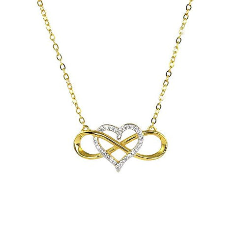 Ben and Jonah Infinite Love Heart With CZs 925 Sterling Silver Necklace 18.25 inch  (16.25 inch  + 2 inch  Extension)