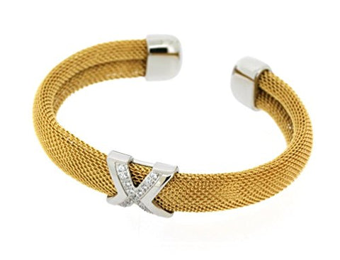 Ben and Jonah Stainless Steel Ladies Fancy Mesh Cuff Bracelet with X and Stones Design Gold Plated