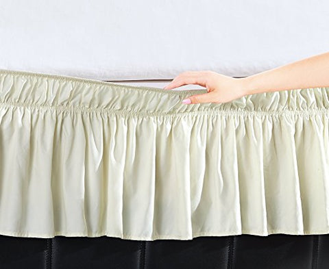 EasyWrap Ivory Elastic Ruffled Bed Skirt with 16 inch  Drop - Queen/King