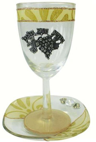 Glass Kiddush Cup with Plate Applique - Pearl/Gold - Cup 6.5 inch  H - Plate 5 inch  x 5 inch