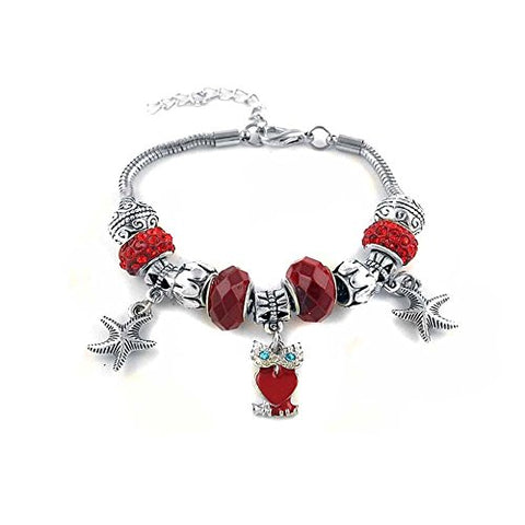 Ben & Jonah Stainless Steel Murano Beads and Charm Bracelet with Owl and Seastars (Adjustable Length 7.5 inch -9.25 inch )
