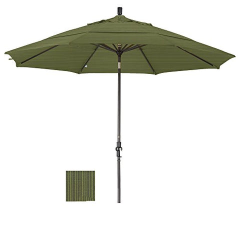 Eclipse Collection 11' Aluminum Market Umbrella Collar Tilt Bronze/Olefin/Terrace Fern/DWV