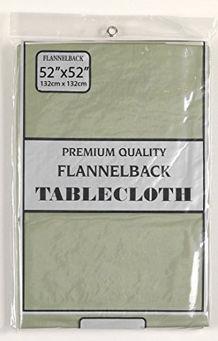 Simple Elegance by Bon Appetit Solid Color Vinyl Tablecloth with Polyester Flannel Backing - Sage Square (52 inch  x 52 inch )